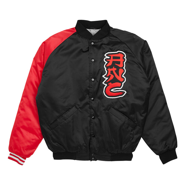 """ALLEYWAY"" satin baseball jacket - black/red"