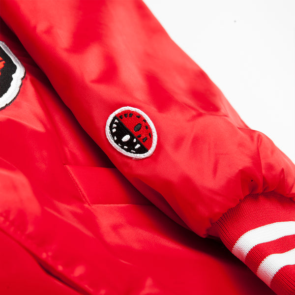 """ALLEYWAY"" satin baseball jacket - red/black"