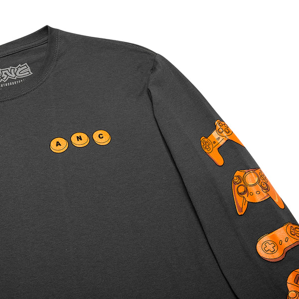 """ALL SYSTEMS GO"" long sleeve tee - charcoal"