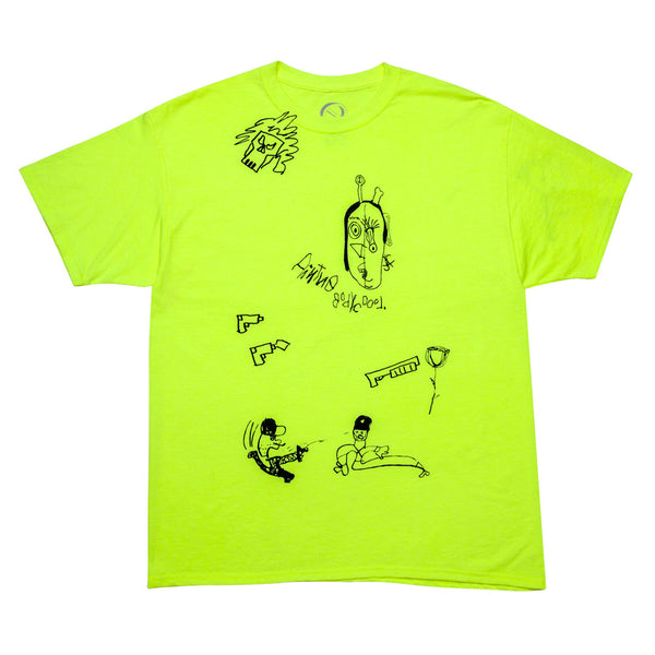 """DRAWN BY A 5 YEAR OLD"" tee - neon yellow"