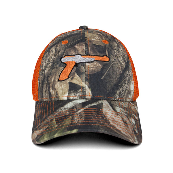 """DUH"" cap - camo/orange"
