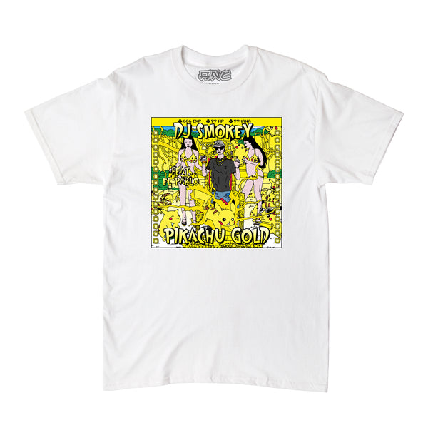 "DJ Smokey -  ""PIKACHU GOLD""  tee - white"