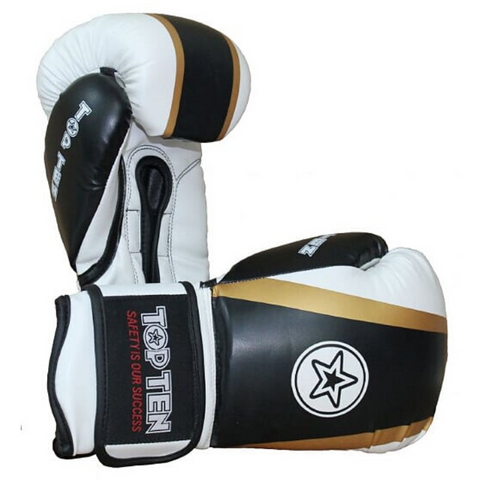 Boxing Gloves TOP TEN 'Star & Stripes' - Black/Gold/White