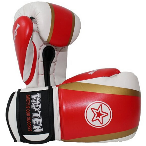 Boxing Gloves TOP TEN 'Star & Stripes' - Red/Gold/White