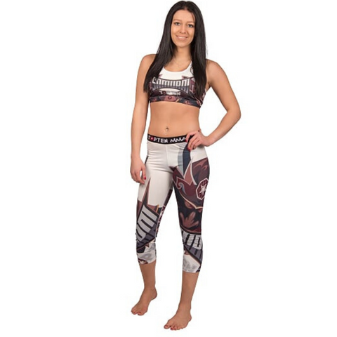 Compression training TOP TEN Womens Capri Pant - White 'Samurai'