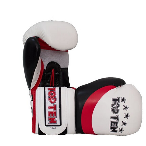 Boxing Gloves TOP TEN 'Stripe' - White/Red/Black