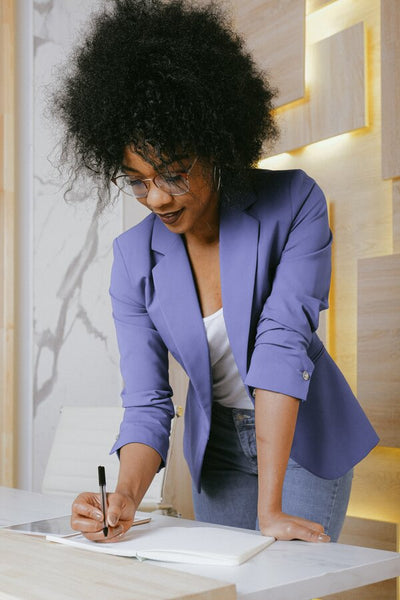 standing woman at work