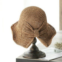 Load image into Gallery viewer, 100%Raffia Bow Sun Hat