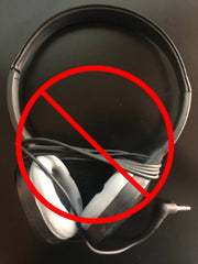 do not wrap cords around school headphones