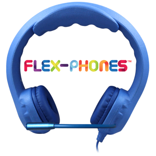 Kids Blue Flex-Phone USB Headset with Gooseneck Microphone - Learning Headphones
