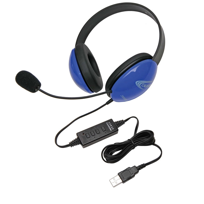 Listening First Stereo Headset - Blue - USB Plug - Learning Headphones