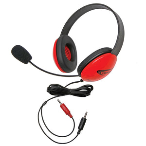 Listening First Stereo Headset - Red - Dual 3.5mm Plugs - Learning Headphones