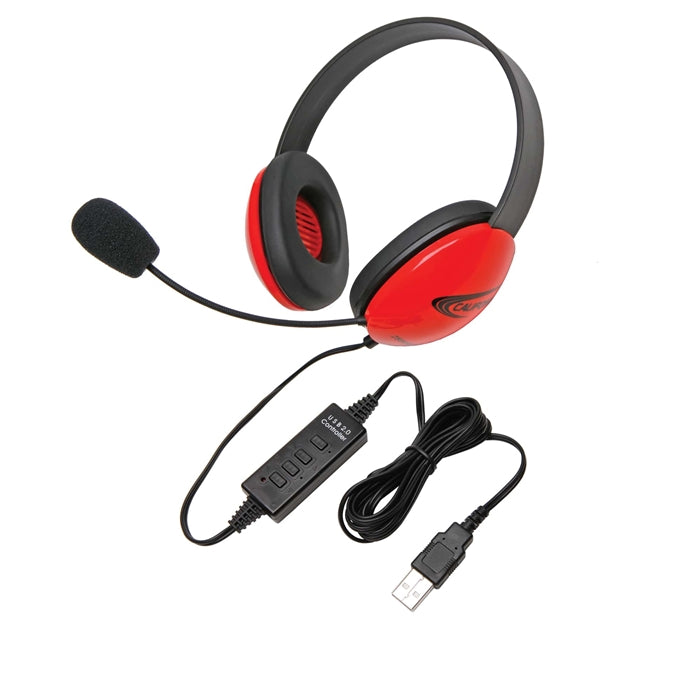 Listening First Stereo Headset - Red - USB Plug - Learning Headphones
