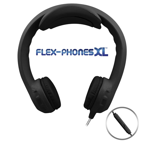 Flex-PhonesXL (Black) - Indestructible, Single-Construction Headset For Teen - Learning Headphones