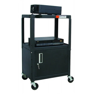 AV Cart for School with Locking Security Cabinet and Electric - Learning Headphones