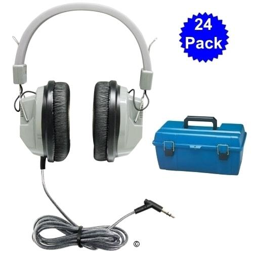 Lab pack w- 24 SC7V Headphones in Large Carry Case - Learning Headphones