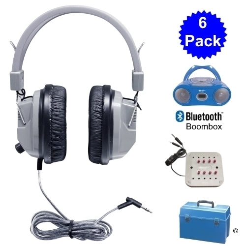 6 Person Listening Center with Bluetooth® Cassette-CD-FM Boombox and Deluxe Over-Ear Headphones - Learning Headphones