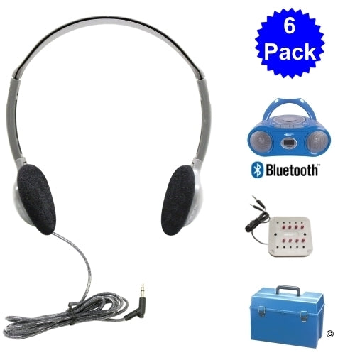 6 Person Listening Center with Bluetooth CD-Cassette-FM Boombox and Personal On-Ear Headphones - Learning Headphones