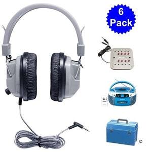 Deluxe USB MP3 CD Cassette Listening Center 6 Station - Learning Headphones