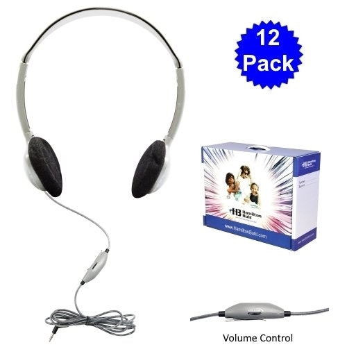 12 Pack School Headphones with Carry Case - Learning Headphones