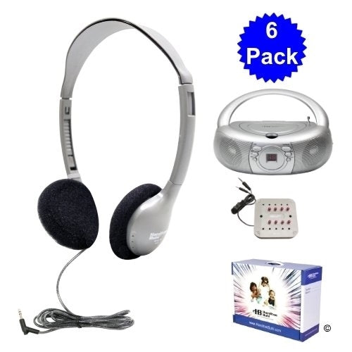 Basic CD-AM-FM Listening Center, 6 Stations, Carry Box - Learning Headphones