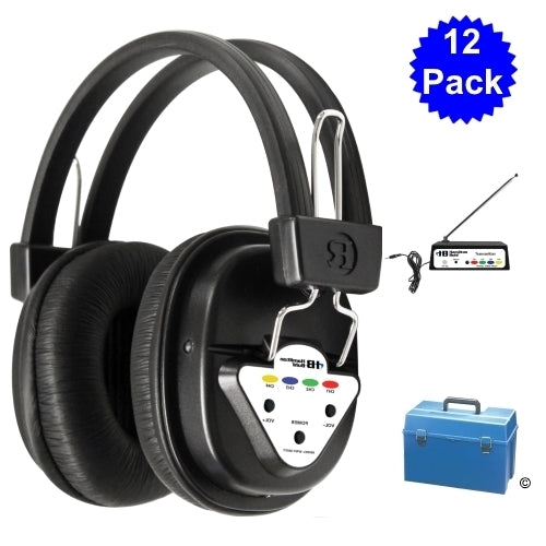 12 Station Wireless Listening Center with Wireless Multi-Channeled Transmitter and Headphones - Learning Headphones
