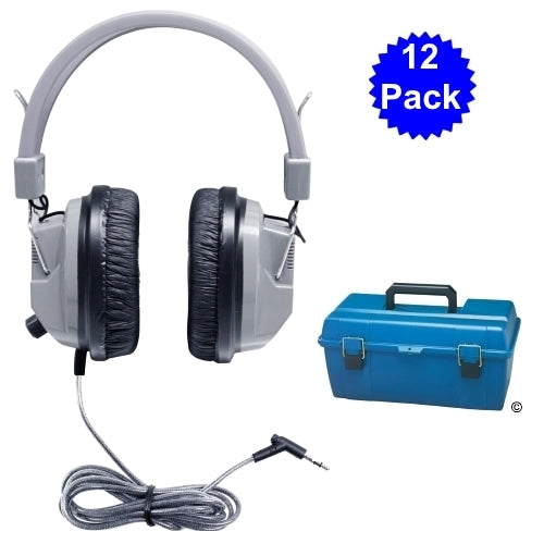 School Headphone Lab Pack (12) with Carry Case - Learning Headphones