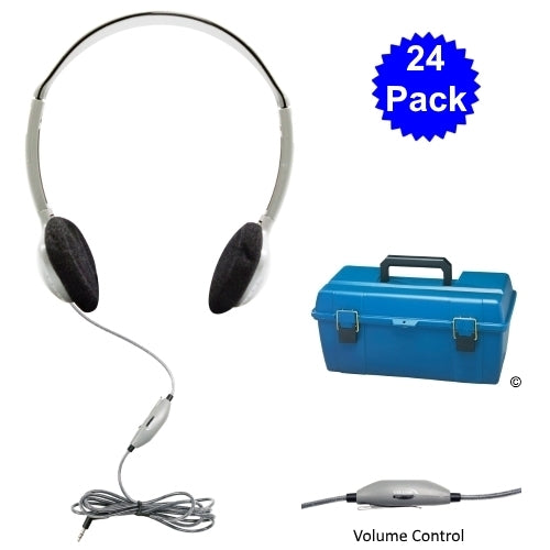 Lab Pack 24 HA2V School Headphones in Carry Case - Learning Headphones