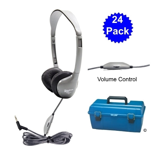 Lab Pack 24 MS2LV School Headphones in Case - Learning Headphones
