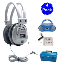 Load image into Gallery viewer, 4 Person Listening Center with Bluetooth Player Boombox and Deluxe Headphones - Learning Headphones