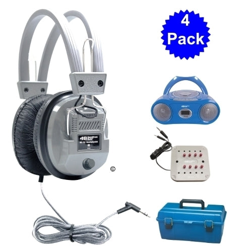 4 Person Listening Center with Bluetooth Player Boombox and Deluxe Headphones - Learning Headphones