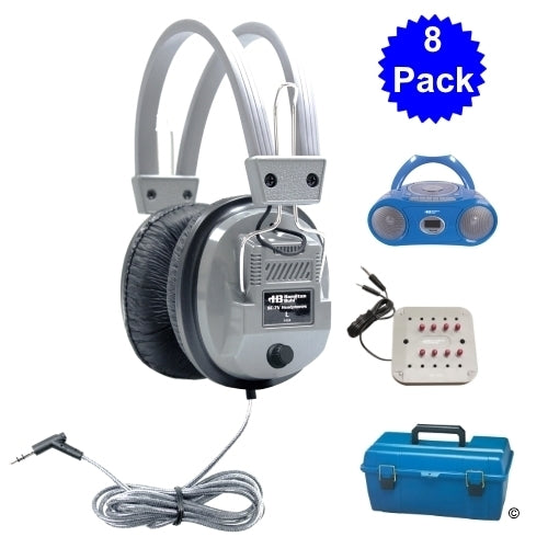6 Person Listening Center with Bluetooth CD-Cassette-FM Boombox and Deluxe Over-Ear Headphones - Learning Headphones