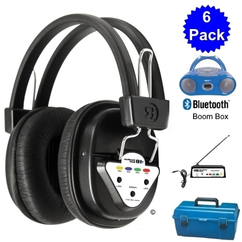 Wireless 6 Person Listening Center with Bluetooth Boombox - Learning Headphones
