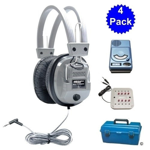 4 Person School Listening Center with Deluxe Headphones - Learning Headphones