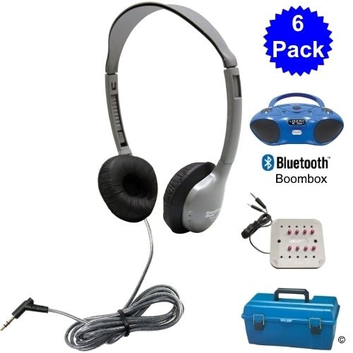 6 Person Bluetooth CD-FM Listening Center with School Headphones - Learning Headphones