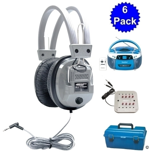 USB, MP3, CD Listening Center, 6 Deluxe School Headsets - Learning Headphones
