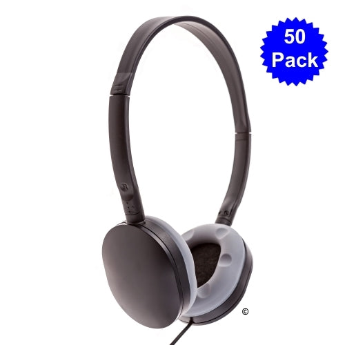 School Headphone with Soft Grey Earcup 50 Pack - Learning Headphones