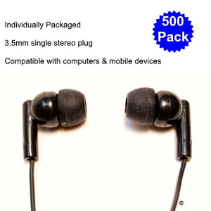 School Earbud 500 Pack - Learning Headphones