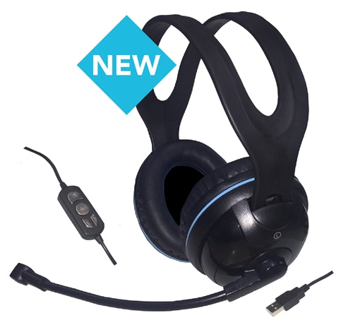 USB Over-Ear Stereo Headset with In-line Volume Controls - Learning Headphones