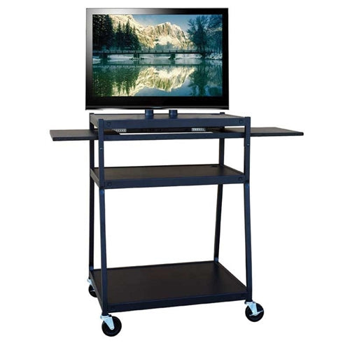 Wide Body Flat Panel TV Cart with Two Side Pull-Out Shelves - Learning Headphones