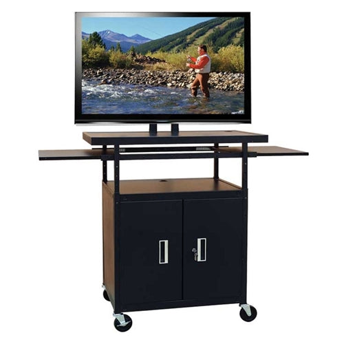 Flat Panel AV Cart with Locking Cabinet Adjustable 34