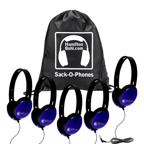Sack-O-Phones 5 Primo Blue Headphones with bag - Learning Headphones