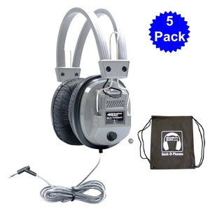 Sack-O-Phones 5 Pack SC-7V Deluxe School Headphones - Learning Headphones