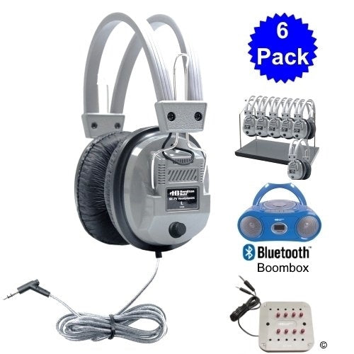 Cassette-CD-AM-FM Listening Center 6 stations with Headphone Rack - Learning Headphones