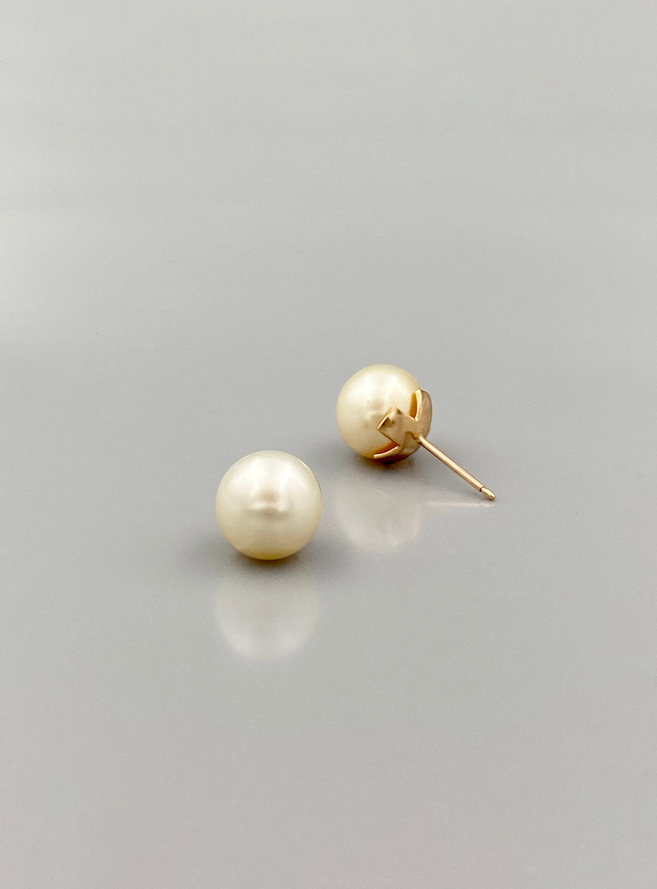 South Sea Button Pearl Stud Earrings