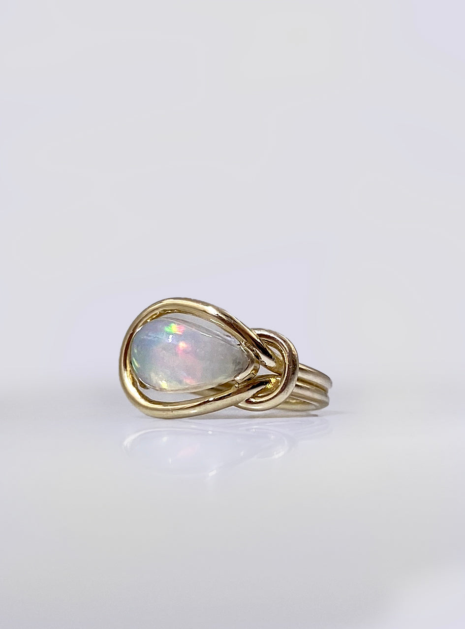 Opal Square Knot Ring