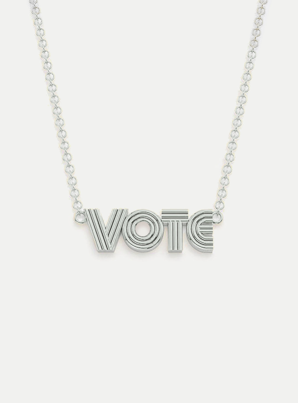 Silver Radiant VOTE Pendant Necklace