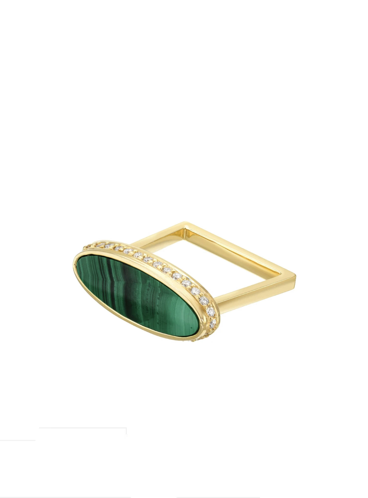 Malachite Halo Signet Ring