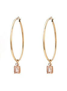 Morganite Charm Hoop Earrings