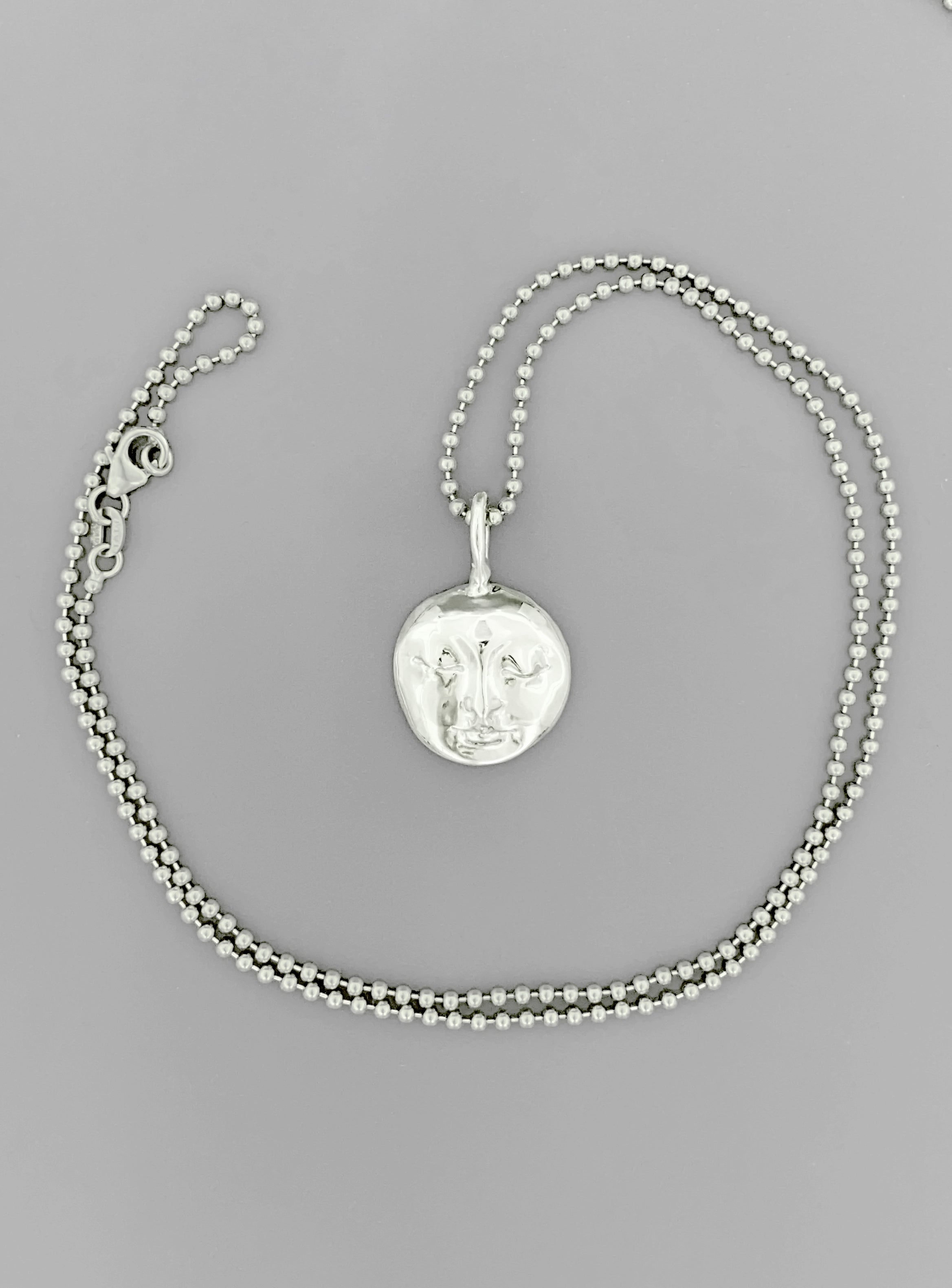 Silver Moon Buddha Pendant on Bead Chain